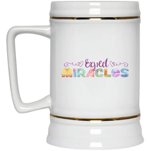 Expect Miracles - 22oz Beer Mug (Purple) - Drinkware - White - One Size -