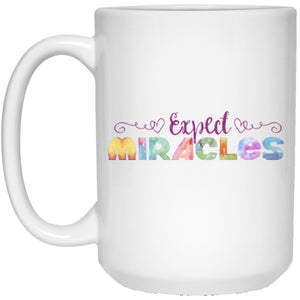 Expect Miracles - Coffee & Tea Mugs (Purple) - Apparel - White - 15oz (Large) -