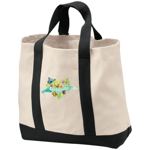 Expect Miracles Embroidered 2-Tone Shopping Bag/Tote - Bags - Natural/Black - One Size -