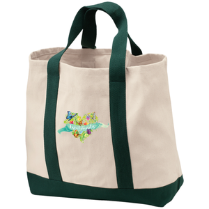 Expect Miracles Embroidered 2-Tone Shopping Bag/Tote - Bags - Natural/Spruce - One Size -