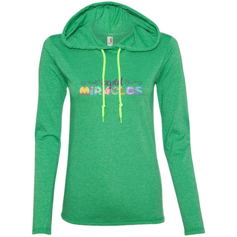 Expect Miracles Tees and Tops - Playful Motif - Apparel - Long Sleeve Tee - Heather Green/Neon Yellow - Small