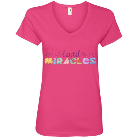 Expect Miracles Tees and Tops - Playful Motif - Apparel - V-Neck Tee - Hot Pink - Small