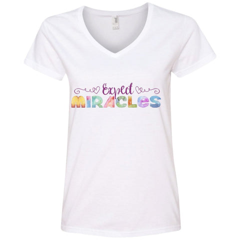 Expect Miracles Tees and Tops - Playful Motif - Apparel - V-Neck Tee - White - Small