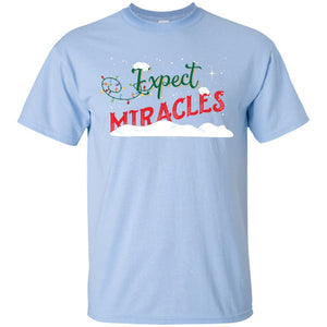 Expect Miracles Tees & Tops - Holiday Motif - Short Sleeve - Light Blue - Small -