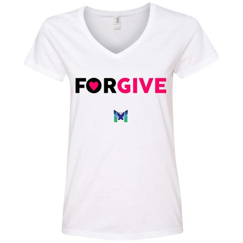 """Forgive"" - Women's T-Shirts-Apparel-V-Neck-White-S-The Miracles Store"