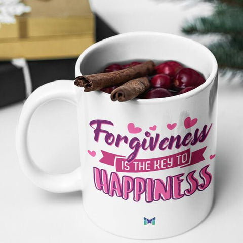 """Forgiveness Is The Key To Happiness"" Mug-Apparel-The Miracles Store"