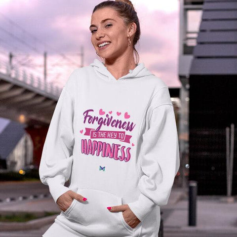 """Forgiveness Is The Key To Happiness"" Unisex Hoodie Sweatshirt-Apparel-The Miracles Store"