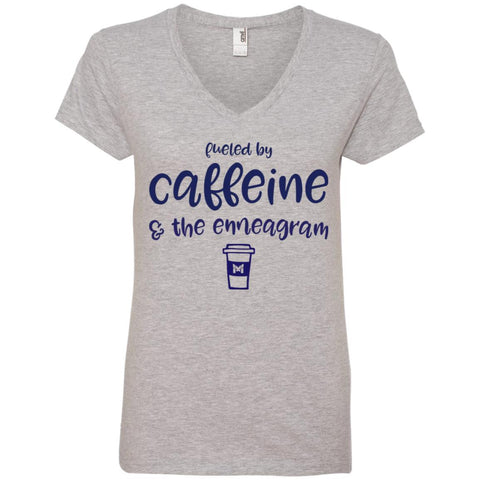 Fueled By Caffeine and the Enneagram - Women's T-Shirts-Apparel-V-Neck-Heather Grey-S-The Miracles Store