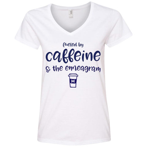 Fueled By Caffeine and the Enneagram - Women's T-Shirts-Apparel-V-Neck-White-S-The Miracles Store