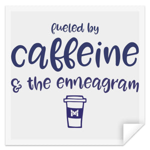 "Fueled By Caffeine & The Enneagram - Sticker-Apparel-Small (3"" x 3"")-The Miracles Store"