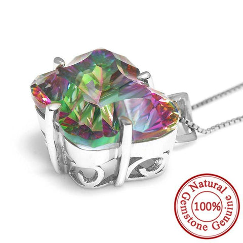 Genuine 27ct Mystical Fire Rainbow Topaz Butterfly Pendant – Solid .925 Sterling Silver - Jewelry - - -