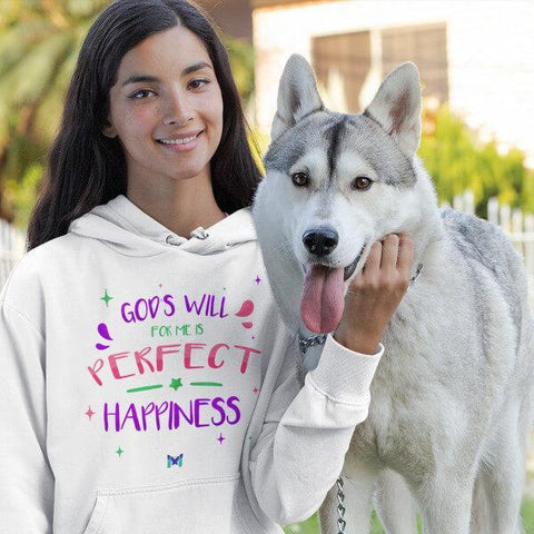 """God's Will For Me Is Perfect Happiness"" Unisex Hoodie-Sweatshirts-The Miracles Store"