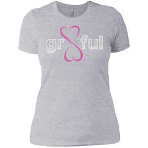 Gr8Ful Heart Ladies' Boyfriend Tee - Short Sleeve - Pink/Grey - X-small -