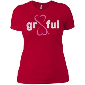 Gr8Ful Heart Ladies' Boyfriend Tee - Short Sleeve - Pink/Red - X-Small -