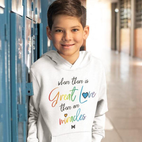 """Great Love"" Youth Hoodie Sweatshirt-Apparel-The Miracles Store"