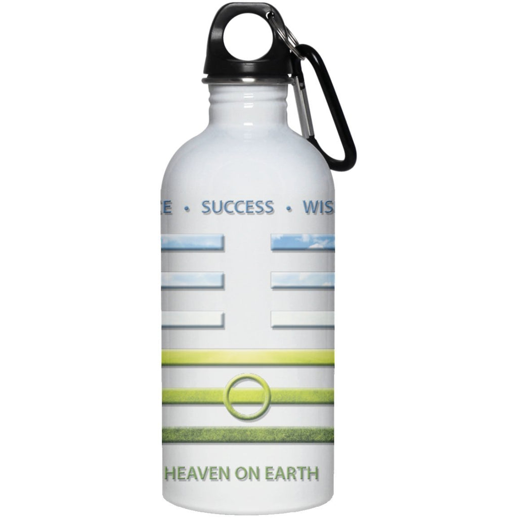 """Heaven On Earth"" - iChing 11.2 Stainless Steel 20oz Water Bottle - Drinkware - White - One Size -"