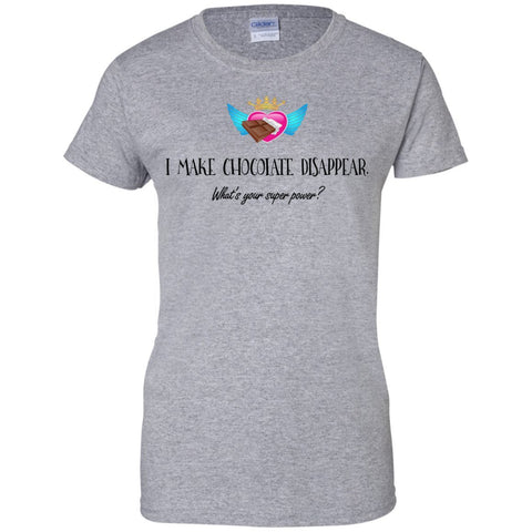 I Make Chocolate Disappear Tees & Tanks - Apparel - Ladies Custom 100% Cotton T-Shirt - Sport Grey - X-Small