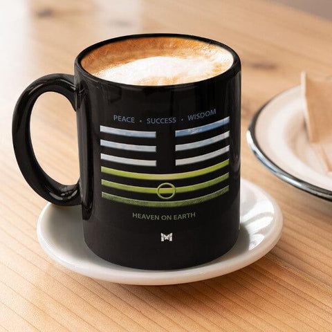 iChing 11.2 Small Black Coffee Mug On Tea Place - Heaven on Earth Visual Symbol