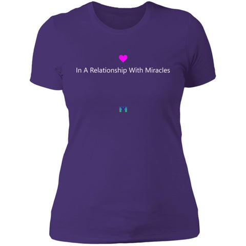 """In A Relationship With Miracles"" - Women's Shirts-Apparel-Boyfriend Tee-Purple-S-The Miracles Store"