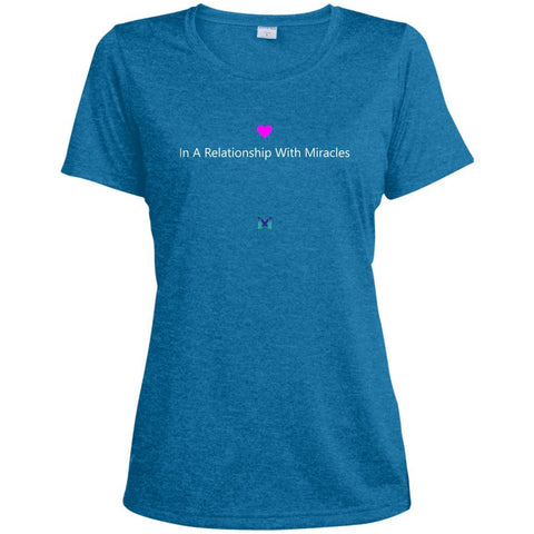 """In A Relationship With Miracles"" - Women's Shirts-Apparel-Dri-Fit Tee-Blue-S-The Miracles Store"