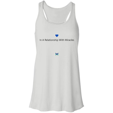 """In A Relationship With Miracles"" - Women's Shirts-Apparel-Racerback Tank-White-S-The Miracles Store"
