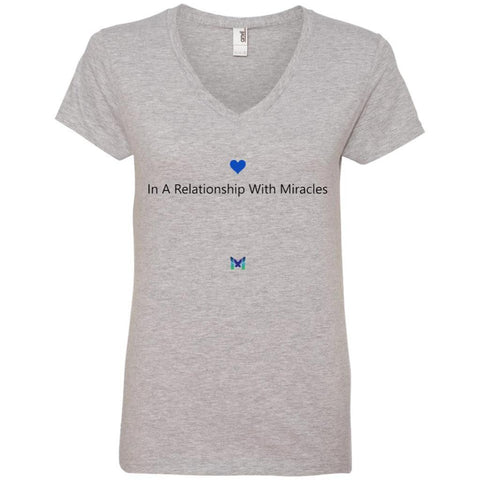 """In A Relationship With Miracles"" - Women's Shirts-Apparel-V-Neck-Grey-S-The Miracles Store"