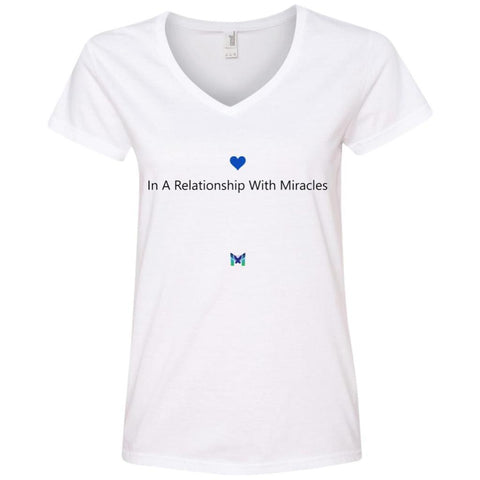 """In A Relationship With Miracles"" - Women's Shirts-Apparel-V-Neck-White-S-The Miracles Store"