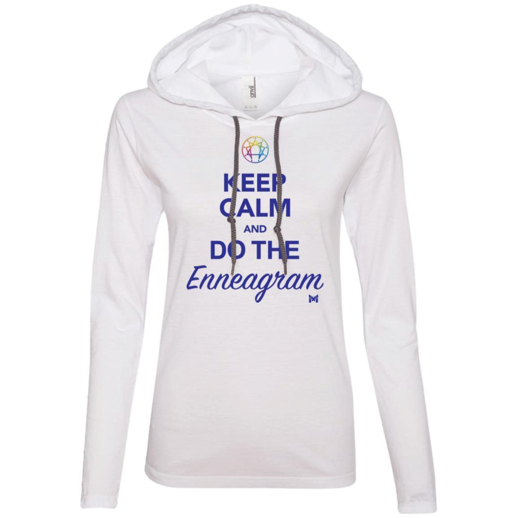 """Keep Calm and Do The Enneagram"" - Women's Lightweight T-Shirt Hoodie-T-Shirts-White/Dark Grey-S-The Miracles Store"