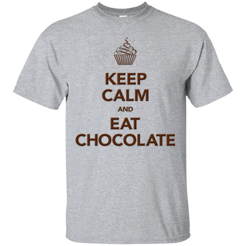 Keep Calm and Eat Chocolate Tanks and Tops - Apparel - Custom Ultra Cotton T-Shirt - Sport Grey - Small