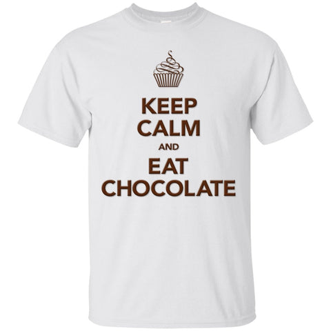 Keep Calm and Eat Chocolate Tanks and Tops - Apparel - Custom Ultra Cotton T-Shirt - White - Small