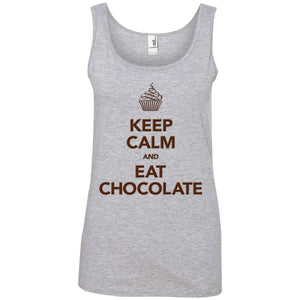Keep Calm and Eat Chocolate Tanks and Tops - Apparel - Ladies' 100% Ringspun Cotton Tank Top - Heather Grey - Small