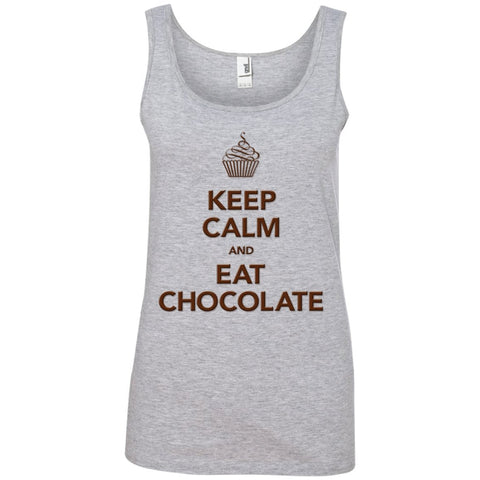 Keep Calm and Eat Chocolate Tanks and Tops - Apparel - Ladies' 100% Ringspun Cotton Tank Top - White - Small