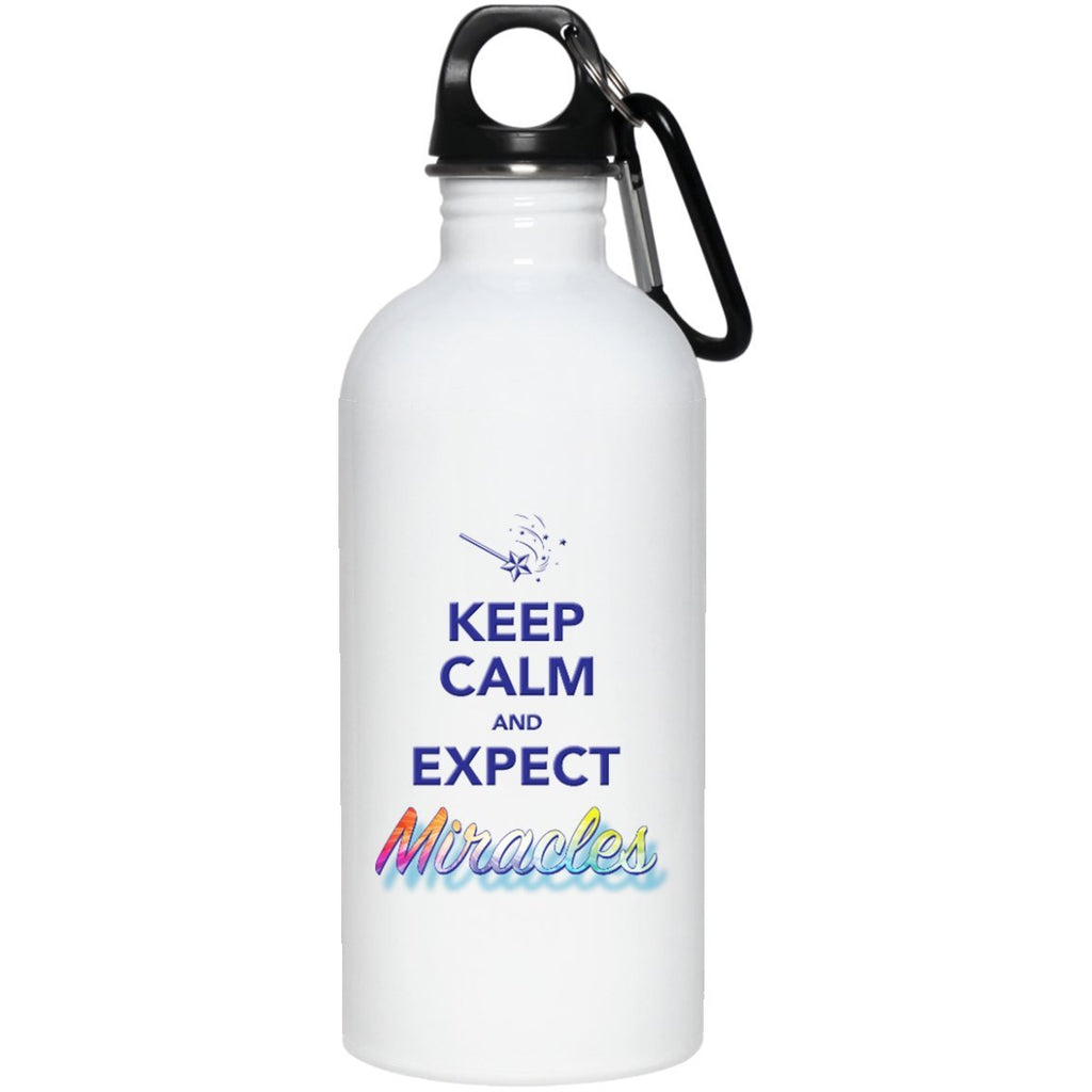 Keep Calm And Expect Miracles - 20 oz. Stainless Steel Water Bottle - Drinkware - Default - -