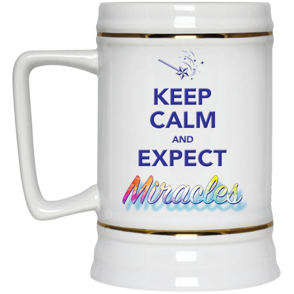 Keep Calm And Expect Miracles - 22oz Beer Mug - Drinkware - Default - -