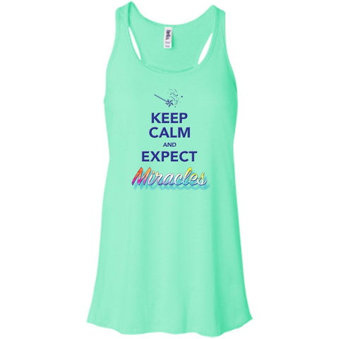 Keep Calm and Expect Miracles Tanks and Tops - Apparel - Bella+Canvas Flowy Racerback Tank - Mint - X-Small