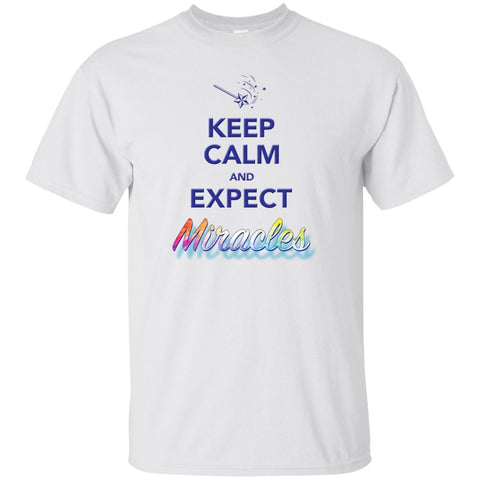 Keep Calm and Expect Miracles Tanks and Tops - Apparel - Custom Ultra Cotton T-Shirt - White - Small