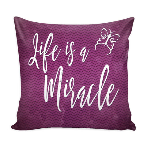 """Life Is A Miracle"" Cover for Throw Pillow - Pillows - Purple - -"