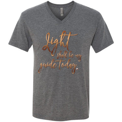 """Light Shall Be My Guide Today"" - Men's V-Neck TShirt - T-Shirts - Premium Heather - Small -"