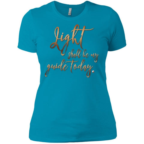 Light Shall Be My Guide Today Womens Tops - Copper Letters - Apparel - Boyfriend Tee - Turquoise - X-Small