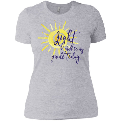 Light Shall Be My Guide Womens Tops - Sun Motif - Apparel - Boyfriend Tee - White - X-Small