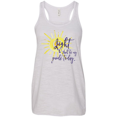 Light Shall Be My Guide Womens Tops - Sun Motif - Apparel - Racerback Tank - Vintage White - X-Small