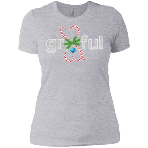 LIMITED EDITION! Gr8Ful Heart Ladies' Boyfriend Tee - Holiday Style - Short Sleeve - Candy Cane/Grey - X-Small -
