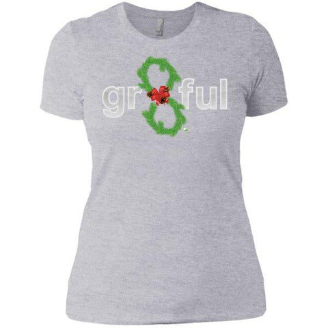 LIMITED EDITION! Gr8Ful Heart Ladies' Boyfriend Tee - Holiday Style - Short Sleeve - Holiday Garland/Grey - X-Small -