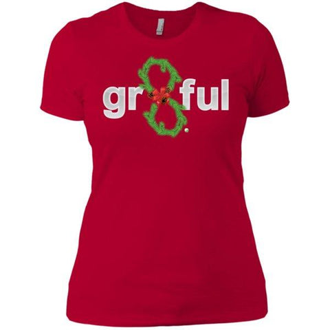 LIMITED EDITION! Gr8Ful Heart Ladies' Boyfriend Tee - Holiday Style - Short Sleeve - Holiday Garland/Red - X-Small -