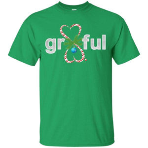 LIMITED EDITION! Gr8Ful Heart Mens/Unisex T-Shirt - Holiday Style - Short Sleeve - Candy Cane/Green - Small -