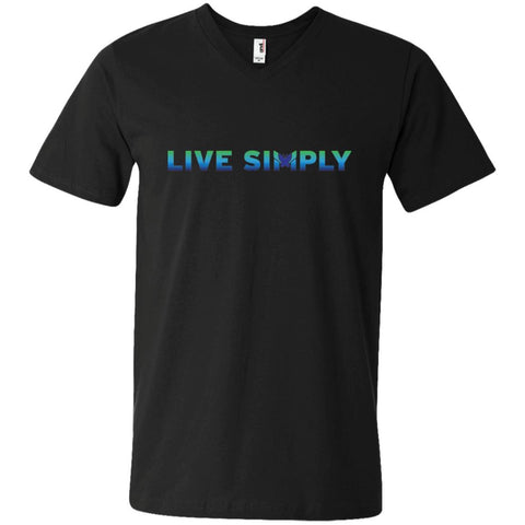 Live Simply - Men's Shirts (Colorful)-Apparel-V-Neck-Black-S-The Miracles Store