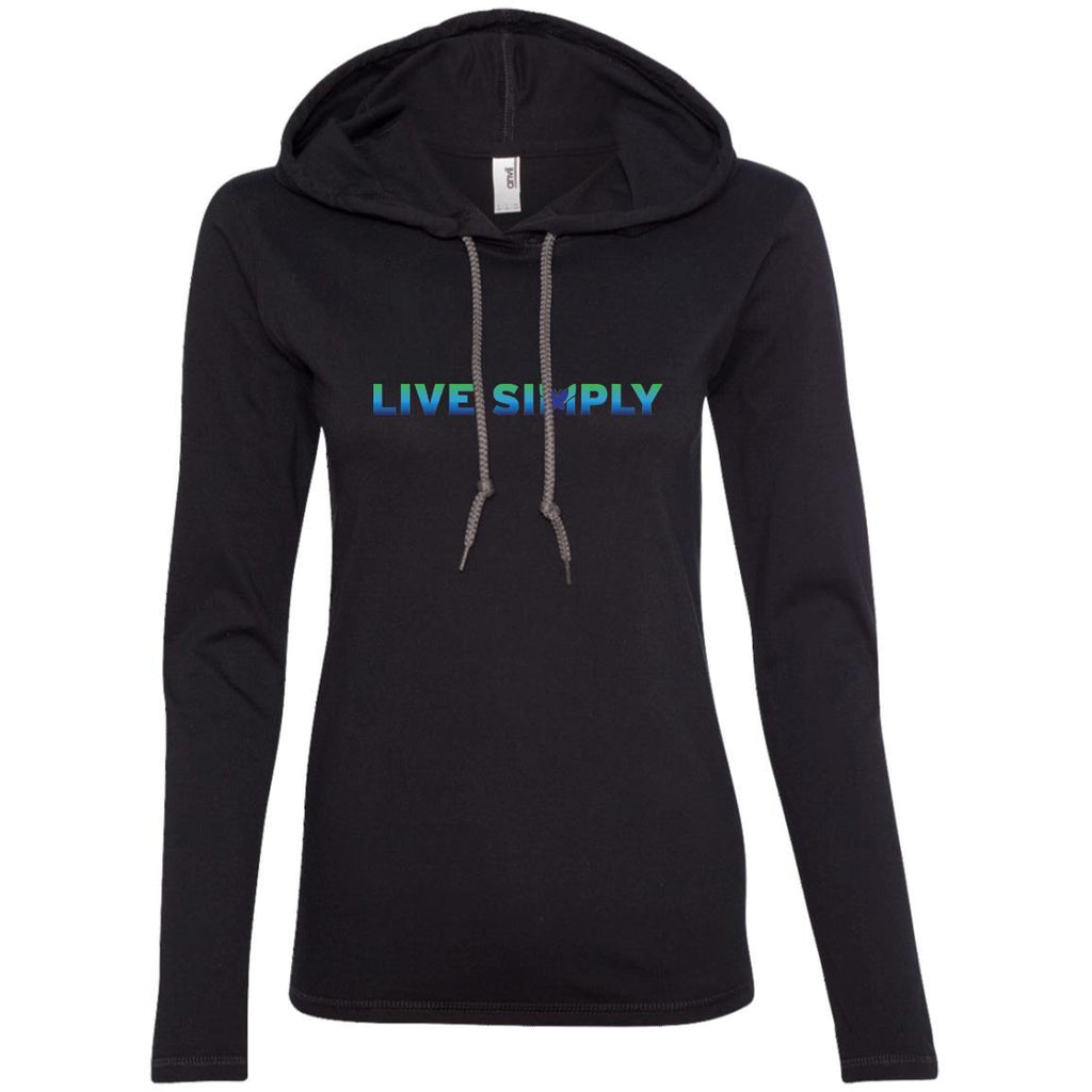 """Live Simply"" Women's Long Sleeve Hoodie T-Shirts (Colorful)-Apparel-Black/Dark Grey-S-The Miracles Store"