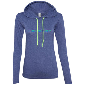 """Live Simply"" Women's Long Sleeve Hoodie T-Shirts (Colorful)-Apparel-Heather Blue/Neon Yellow-S-The Miracles Store"