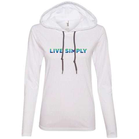 """Live Simply"" Women's Long Sleeve Hoodie T-Shirts (Colorful)-Apparel-White/Dark Grey-S-The Miracles Store"
