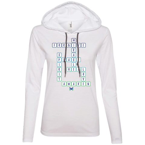 """Miracle Crossword"" - Women's Lightweight Hoodie TShirt-Apparel-White-S-The Miracles Store"
